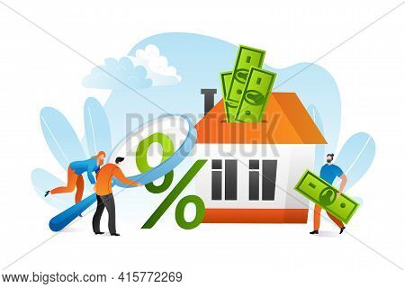 Mortgage Loan With Finance Investment For Apartment Ownership Concept, Vector Illustration. Man Woma