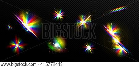 Rainbow Light Flare Effects, Bright Iridescent Glare Isolated On Transparent Background. Colorful Ra