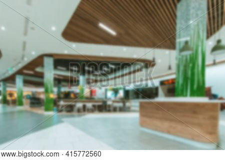 People Shopping Center Blurred Background. Interior Of Retail Centre Store In Soft Focus. People Sho