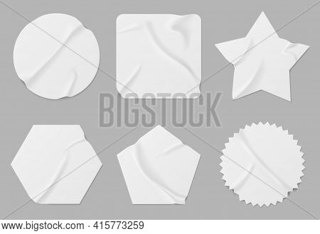 White Stickers Or Patches Mockup. Blank Shrunken Labels Of Different Shapes Round, Square, Star, Pen