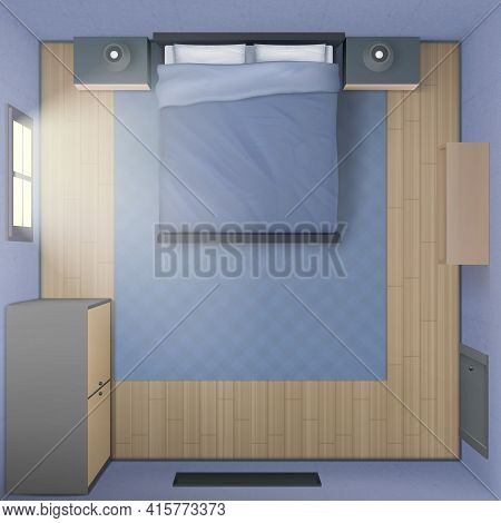 Bedroom Interior Top View, Modern 3d Home Or Hotel Empty Apartment With Double King Size Bed, Nights