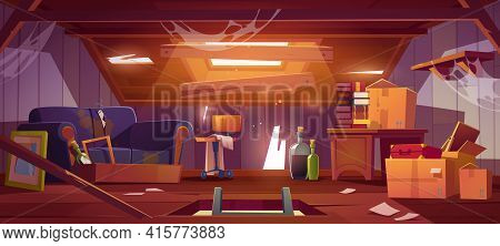 Dirty House Attic With Old Furniture And Cardboard Boxes. Vector Cartoon Interior Of Attic Room In A