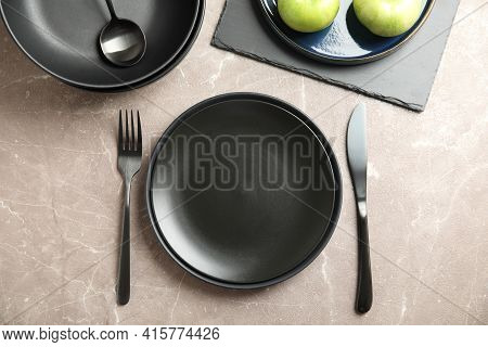Set Of Clean Dishware On Grey Table, Flat Lay