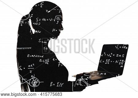 Educational Science. Silhouette Female Portrait. Project Development. Research Information. Double E