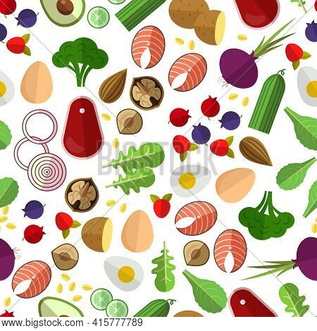 Healthy Eating Pattern. Potato Cucumber, Beetroot And Eggs, Nuts And Fish, Vector Illustration