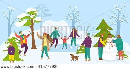 Winter, Snow Season Activity Outdoor, Vector Illustration. Man Woman People Character Make Snowman T