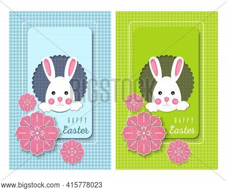Greeting Cards Set For The Easter Holiday. Collection Easter Poster And Banner Template With Cute Ea