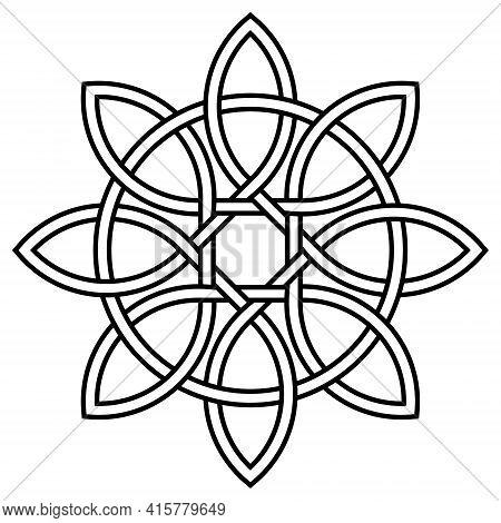 Celtic Knot Of Petals And Circle Of Nature And Longevity, Vector Tibetan Symbol Knot Eternal Life An