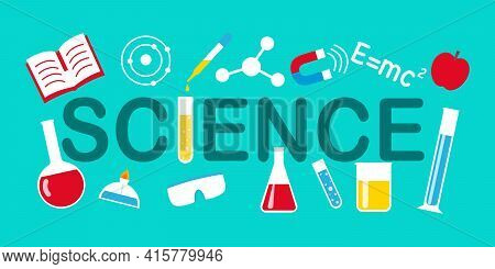 Science Word With Chemical Glassware, Laboratory Items, Magnetic And Molecules In Flat Design. Scien