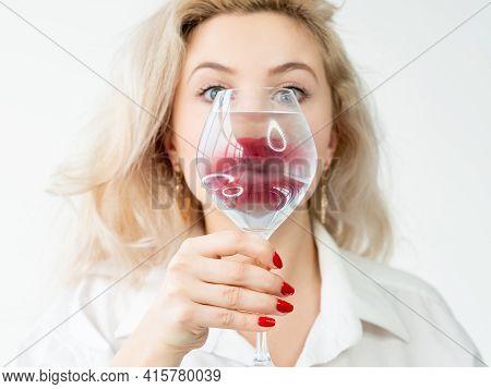 Beauty Enhancement. Lip Augmentation. Aesthetic Cosmetology. Art Portrait Of Blonde Woman Face With