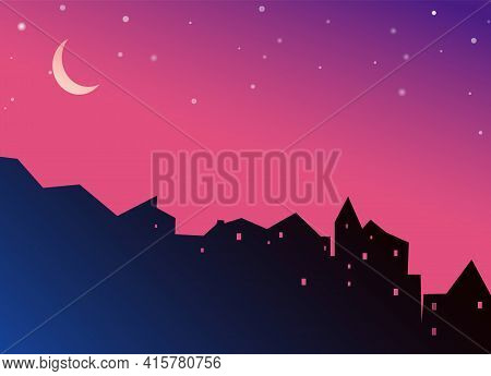 Night Cityscape Houses Silhouette With Moon And Stars On Purple Background. Jpeg Illustration Of Cit