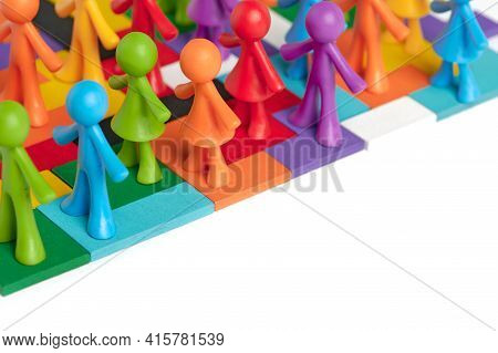 . Heterogeneous Social Structure Of Human Figures On A White Background. Recruitment And Personnel M