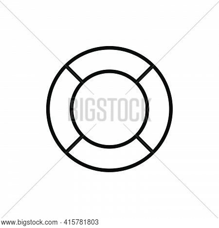 Lifebuoy Line Icon. Rubber Ring Outline Flat Black Icon. Lifesaver Sign. Vector Illustration Isolate