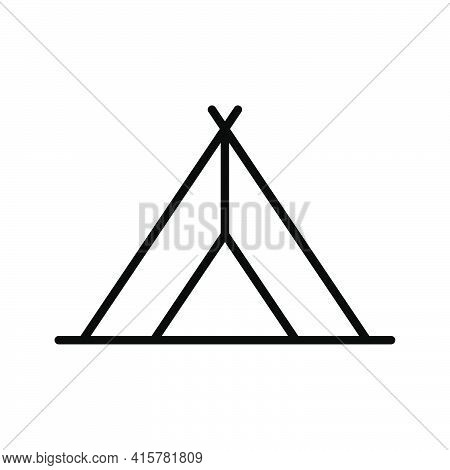Tent Line Icon. Travel Outline Symbol. Camping Marquee Sign. Vector Isolated On White