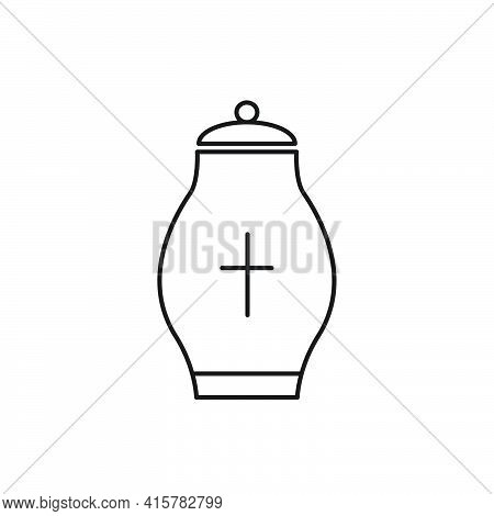 Cremation Urn For Ashes Line Icon. Human Death Outline Symbol. Vector Isolated On White.