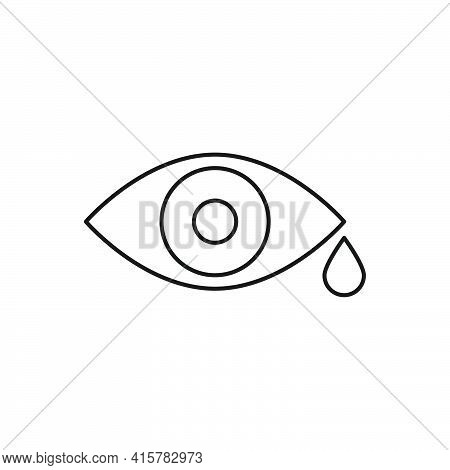Crying Eye With Tear. Sad Eye Line Icon. Funeral And Death Outline Concept. Vector Isolated On White