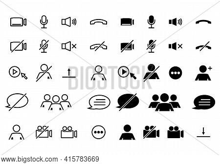 Webinar Stream Or Video Chat Control Icons. Speaker, Microphone, Video Camera, Phone, Record And Oth