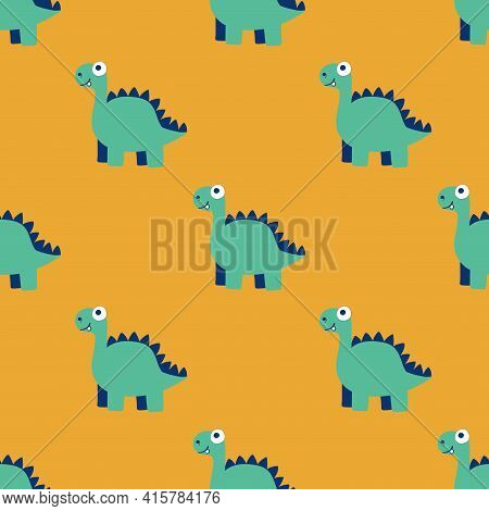 Simple Cartoon Dinosaurs Seamless Pattern Vector. Hand Drawn Dino By Green, White, Blue On Orange Pa