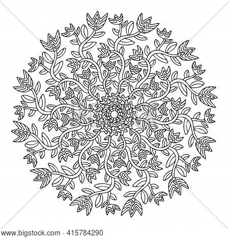 Hand Drawn Tulips Flowers Mandala Stock Vector Illustration. Natural Simple Coloring Page. Funny Bla