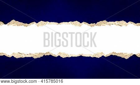 Paper With Torn Or Torn Blue Paper With Cut Path For Abstract Background Design And Copy Space.