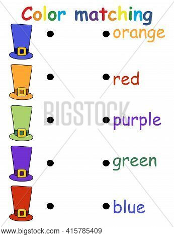 Color Matching Game With Top Hats Stock Vector Illustration. Funny Educational Matching Game For Tod