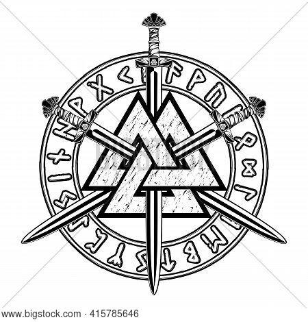 Sacred Viking Symbols. Magic Navigation Vikings Compass. Runic Talisman. Celtic Warrior's Weapon. Sc