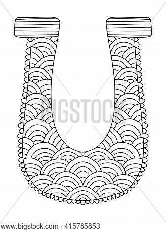 Horseshoe Zen Art Coloring Page For Adults Stock Vector Illustration. Good Luck Symbol Ornamental Ir