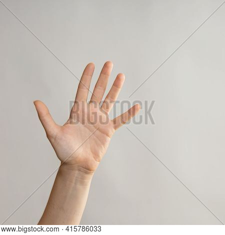 Five Fingers, Open Palm, Five Fingers On A Womans Hand. Hand Gestures
