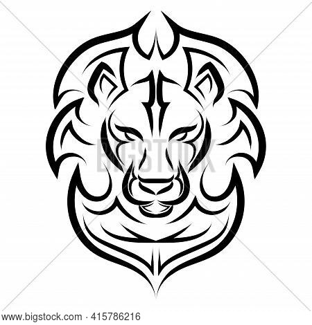 Black And White Line Art Of The Front Of The Lion's Head.  It Is Sign Of Leo Zodiac. Good Use For Sy