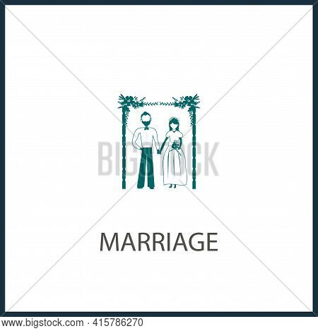 Marriage Simple Vector Icon. Groom With The Bride Under A Wreath Isolated Icon.