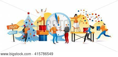 Happy Corporate Party, Vector Illustration. People Man Woman Character Have Fun At Cartoon Celebrati