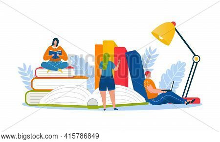 Education Book At Library, Vector Illustration. Study Literature Concept, Woman Man Person Character