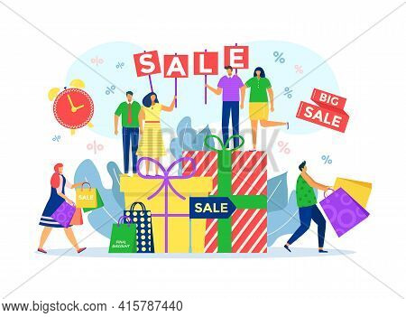 Sale For Buying Cartoon Gift In Shop, Vector Illustration. People Man Woman Character Use Discount A