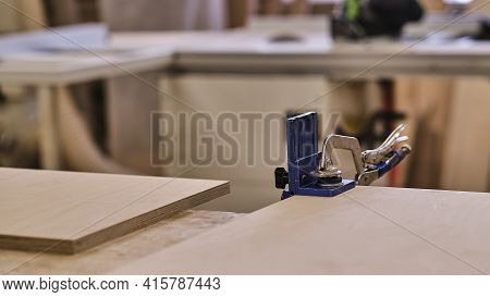 Carpenter Tools Background. Old Joinery No People Industrial. Carpenters Table With Furniture Detail