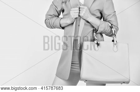Need To Serve Its Purpose. Woman Use Leather Clutch. Girl Weal Pink Formal Jacket. Confident Carry S