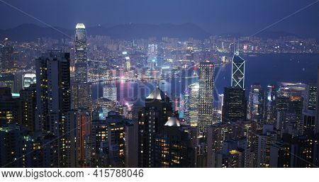 Victoria Peak, Hong Kong 05 February 2021: Hong Kong skyline night