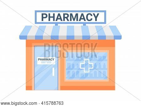Offline Shop Building Exterior, Payment In Store. Business Commerce. Small Shop In House. Vector Fla