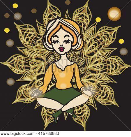 Yoga Girl With Indigo Aura And Mandala. She Is In Deep Meditation.