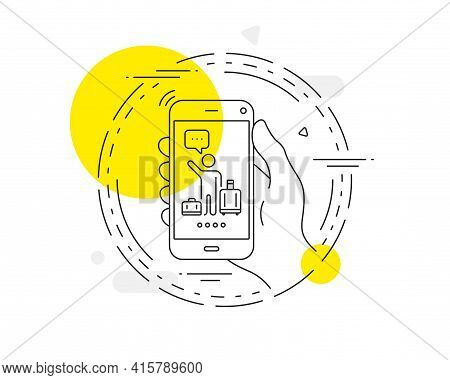Baggage Reclaim Line Icon. Mobile Phone Vector Button. Airport Transfer Sign. Flight Bags Symbol. Ai