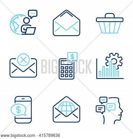 Technology Icons Set. Included Icon As Reject Mail, Phone Payment, Mail Signs. Messages, Shop Cart,