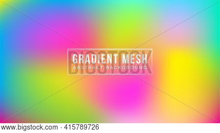 Abstract Blurred Gradient Mesh Background In Vivid Rainbow Colors. Colorful Smooth Banner Template.