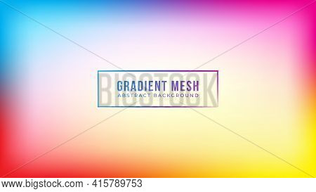 Abstract Soft Gradient Mesh Background With Blank Space. Futuristic Blurred Multicolor Banner Design