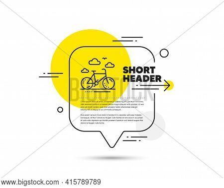 Bike Rental Line Icon. Speech Bubble Vector Concept. Bicycle Rent Sign. Hotel Service Symbol. Bike R