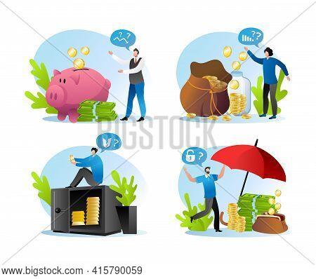 Keep Dollar Cash Finance In Bank, Safe, Piggy Bank Or Insurance, Vector Illustration. Banking Curren