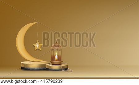 Islamic 3d Podium With Pink Gold Crescent Moon, Traditional Islamic Lantern, Rosary Beads, Candle. V
