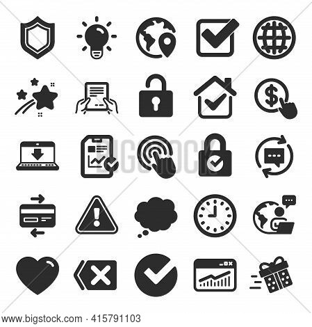 Report, Time And Globe Icons. Statistics, Speech Bubble And Light Bulb Signs. Credit Card, Download