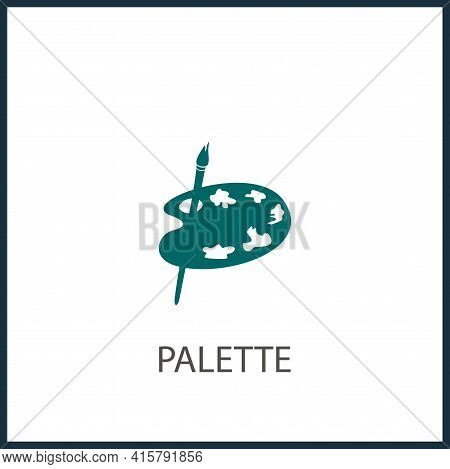 Painting Kit With Brush. Paint Palette. Paints Palette Simple Vector Icon. Painting Kit Isolated Ico