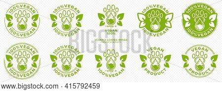 Concept For Packaging. Labeling - Vegan. Animal Paw Icon With Drop Of Ingredient With Winged Leaves
