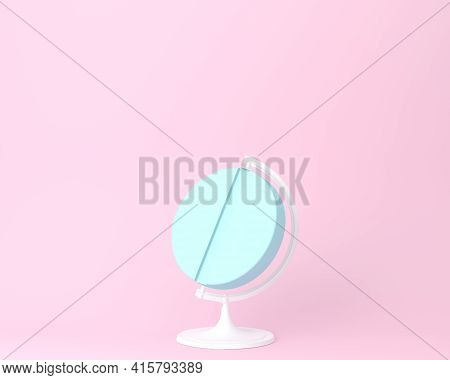 Globe Sphere Orb Pill On Pastel Pink Background. Minimal Idea Concept. An Idea Creative To Produce W