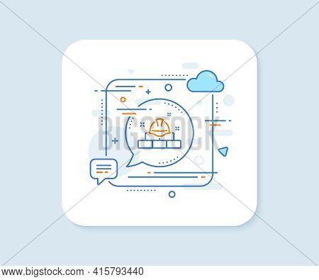Construction Builder Line Icon. Abstract Square Vector Button. Engineer Or Architect Helmet Sign. Br